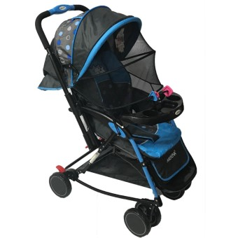 Akeeva 4-way Rocker Stroller (Blue) w/ mosquito net and toytray