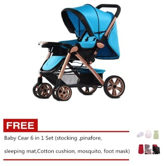 Angel Baby Two-way Four-wheel Folding Aluminum Alloy Baby Stroller Blue Free Baby Care 6 in 1 Set