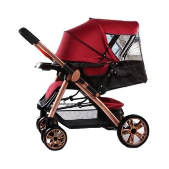 Angel Baby Two-way Four-wheel Folding Aluminum Alloy Baby Stroller (Red/Black)