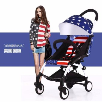 Baby Time Foldable Pocket Stroller Blue Star