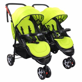 Huaying Newborn Twin Patent Baby Split Double Stroller (Neon Green)