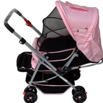 IRDY 829A 3- ways stroller w/ 8 wheels reversible handle w/ mosquito net (pink)