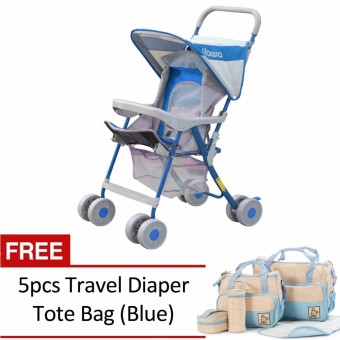 Jiawa Foldable Baby Stroller (Blue) with 5pcs Travel Diaper Tote Bag (Blue)