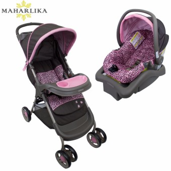 MK Cosco Lift and Stroll plus Travel System portable folding Baby stroller with baby carrier car seat base for baby PINK