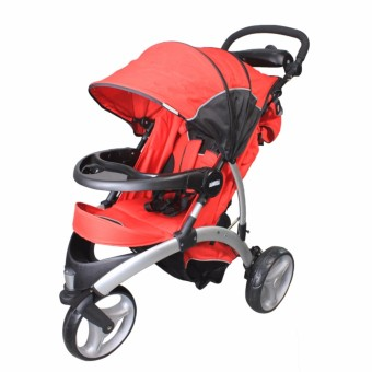 Moda Three wheel baby's Heavy duty traveling stroller (Red)