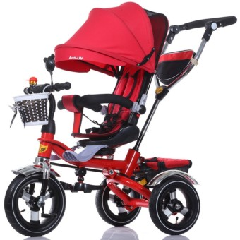 Portable Baby Strollers Rubber Child Tricycle Trolley Baby Stroller Baby Carriage Bike Bicycle (Red) - intl