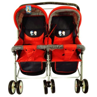 Baby twin stroller red