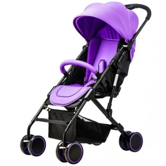 Baby Two-way Four-wheel Folding Aluminum Alloy Baby Stroller (Purple/Black)