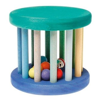 Big Rolling Wheel Wooden Baby Toy With Rattle Sounds In Blue & Green