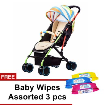Heavy Duty Babies First Baby Stroller (Multicolor) with free Baby Wipes Assorted 3pcs