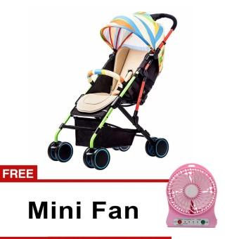 Heavy Duty Baby Stroller (Multicolor) with free USB Rechargeble Fan (Pink)