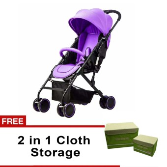 Heavy Duty Baby Stroller (Violet) with free 2 in 1 Cloth Storage (Green)
