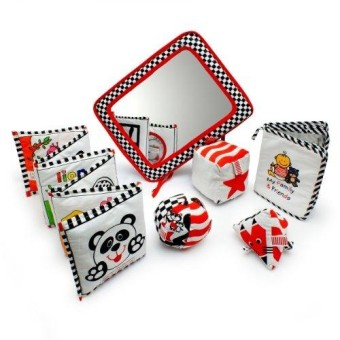 Infant Development Toys Gift Bundle - Black- White & Red.