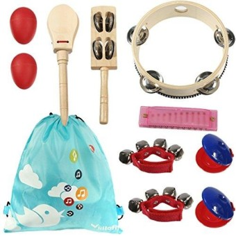 Kilofly Kids Musical Instruments Band Rhythm Toys Value Pack Set Of 10- Red
