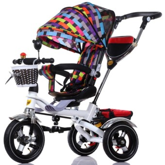 Portable Baby Strollers Rubber Child Tricycle Trolley Baby Stroller Baby Carriage Bike Bicycle (Multicolor) - intl