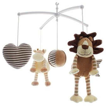 SHILOH Baby Plush Crib Mobile With 60 Songs Musical Box And Arm (Lion & Cow)