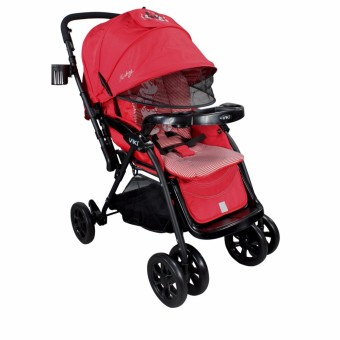 Viki newborn Baby Comfortable outdoor Umbrella Stroller with food tray and bottle holder (Red)